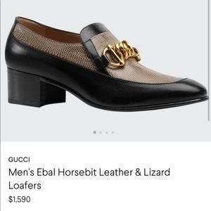 GUCCi Men's Eval Horsebit Leather/Lizard Loafers